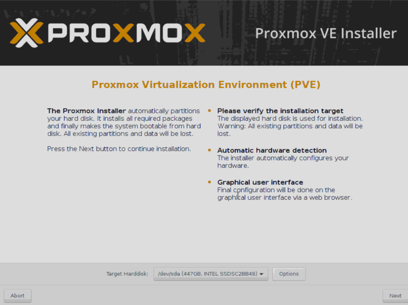 Установка Proxmox - выбор диска.