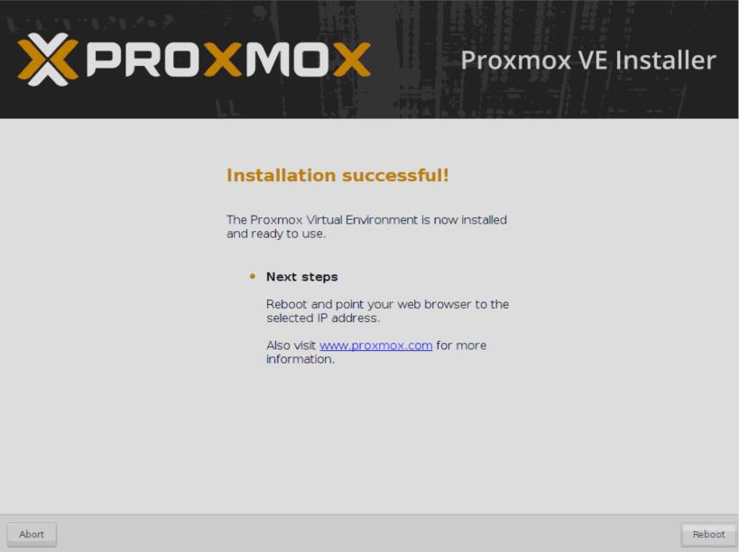 Установка Proxmox - перезагрузка.