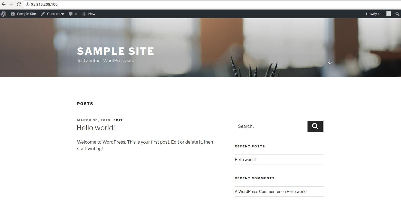 Пример сайта на WordPress, на который будет организована атака