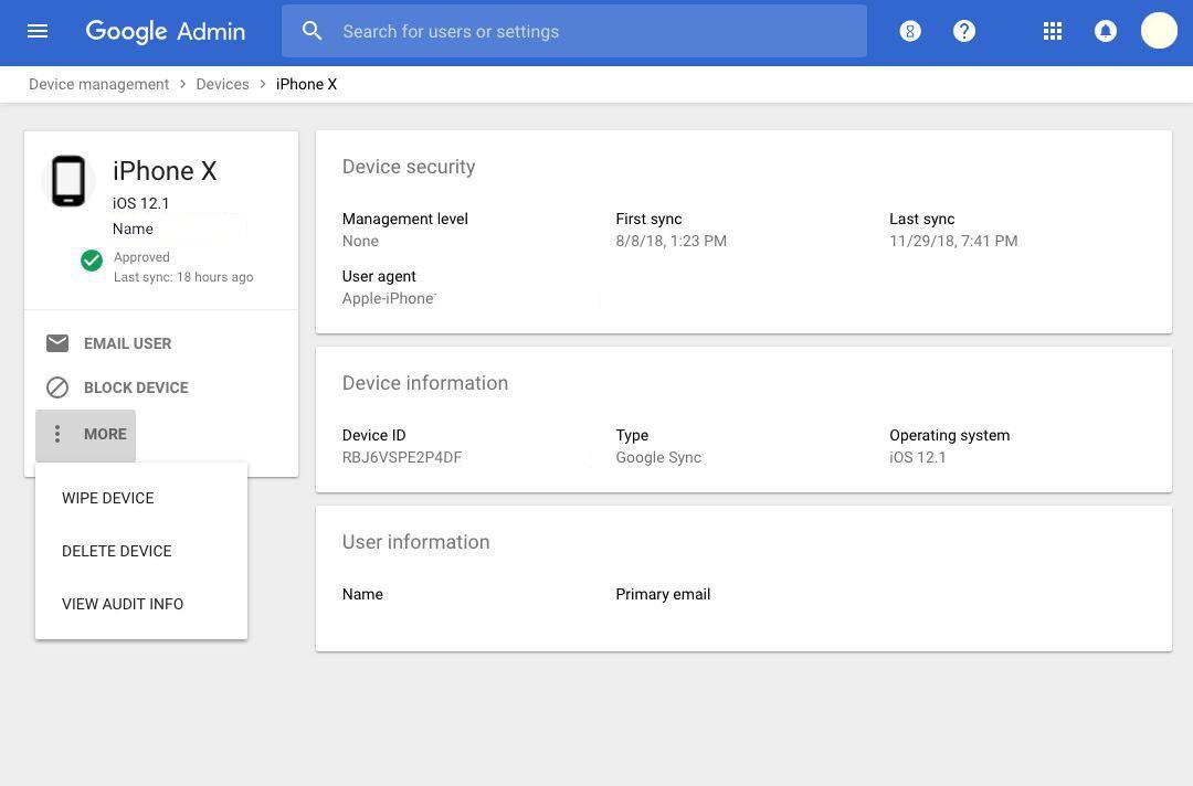 Управление мобильным устройством через консоль администратора G Suite