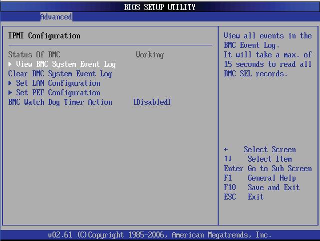 Настройка PEF и Watchdog Timer в BIOS сервера