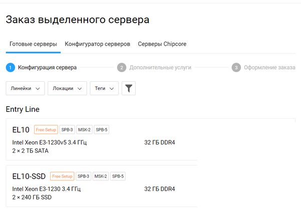 Заказ сервера готовой  конфигурации